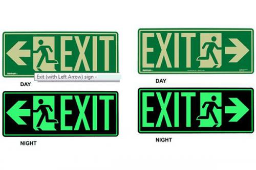 Exit with Arrow - Glow In The Dark